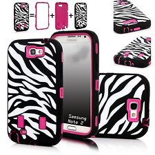 Zebra printed Hybrid shockproof Case cover f Samsung galaxy S4 S5 Note 2 3 rose