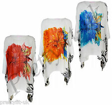 Womens Ladies Flower Print Chiffon Batwing Sleeve Summer Beach Top Blouse Kaftan