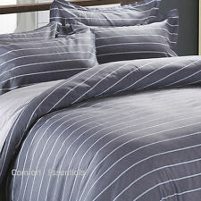 Comfort Essentials Blue Stripe 250TC 100% Cotton Quilt / Duvet / Doona Cover Set