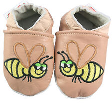 Milky Coffee Girls Boys Baby Soft Soles Leather Shoe Pram  Kids Busy Bees 0-18M