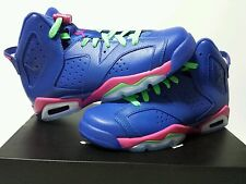 Nike air jordan retro 6 Girls GAME ROYAL  size 4y - 7y gs 2014 543390-439