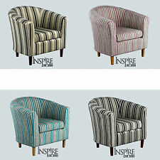 Stunning April Fabric Tub Chair in Black White Teal Pink Chocolate Stripes Chair
