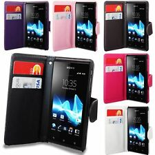 NEW FLIP PU LEATHER WALLET BOOK PHONE FLIP CASE COVER FOR SONY XPERIA J ST26i
