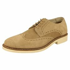AM 274 MENS SMART CASUAL MARBLE /  LIGHT TAN / BEIGE SUEDE BROGUE LACE UP SHOES
