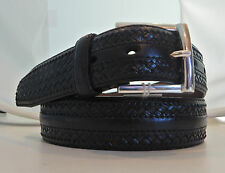 Brighton New Kauai Leather Belt Sizes 34, 40, 42 Silver Plated Black List $95
