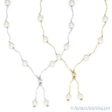 8mm White Freshwater Pearl Ladies Beaded Necklace in 14k Yellow or White Gold