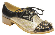 Voda Spiki Women fashion oxford glitter and patent leather lace up spike toe box