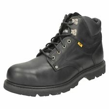 CATERPILLAR MENS BLACK LEATHER LACE UP SAFETY BOOTS - GROUSER ST