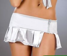 New 5016 Silver Metallic PLEATED DANCE ROLLER MICRO MINI Short SKIRT RAVE S M L