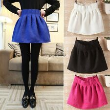 Hot Women Candy Color Stretch Waist Plain Skater Flared Pleated Mini Skirt CaF8