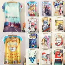 Fashion Women Summer Digital/Animal/floral Print Loose Casual T-shirt Dress Top