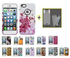 Design Snap on Shell Case +Screen Protector Film Cover For iPhone 5 5S