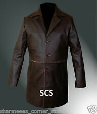 Genuine Leather Classic Long Coat in Distressed Brown