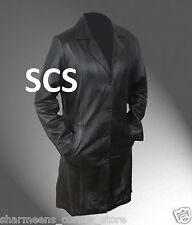 Classic Black Long Coat in Genuine & Faux Leather