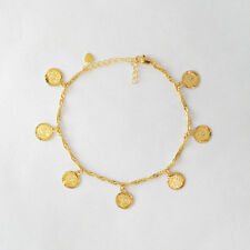 "Arabic Fashion Coin Charm ANKLET 24K Gold Plated - Sizes 7""- 11"" Didymus Jewelry"