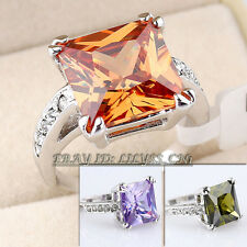 Solitaire Simulated Gemstone Fashion Ring 18KGP CZ Rhinestone Crystal Size 5.5-9