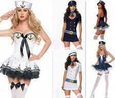 Sexy Womens Retro Navy Sailor Pin Up Fancy Dress Costume Halloween Outfit M XL