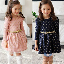 Fashion Kids Toddler Girls Clothing Polka Dots Buttons Princess Dress Ages3-8Y