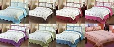 3 pcs Jacquard/Printed Bedspread Quilt Embroidery Floral Set Bed Cover