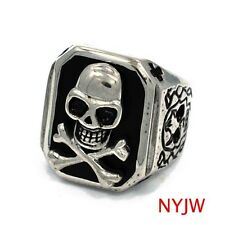 MENS STAINLESS STEEL SILVER TN. SKULL BONE WHITE HEAD RING USA SELLER RM115S