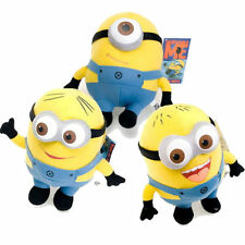 Set Of 3 Despicable Me Minions Dave Stewart Jorge Soft Plush Toy 3D Eyes 3 Sizes