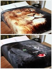 500gsm Faux Fur Mink Blanket QUEEN / KING Size - Panther, Lion