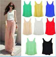 Women Chiffon Sleeveless Shirt Vest Tank Tops Blouse Waistcoat 8 Color