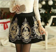 NEW Retro Floral Printing Wild Skirt Organza Mesh Glitter Embroidery Short Dress
