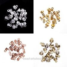 200Pcs Fold Over End Cord Findings Crimp End Beads For Jewelry Making 6x3mm