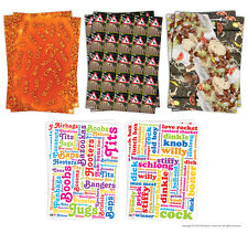 Brainbox Candy Wrapping Paper Gift Wrap -2 Sheets funny rude humour juke cheeky