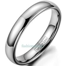 4MM Polished Tungsten Carbide Dome Ring Men's Women's Engagement Wedding Bands