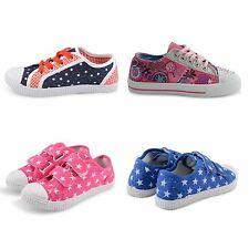 GIRLS INFANTS KIDS VELCRO FASTENING SHOES CASUAL PLIMSOLLS LACE UP PUMPS TRAINER