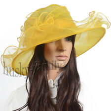 Kentucky wedding church dress derby hat wide brim organza floral hat