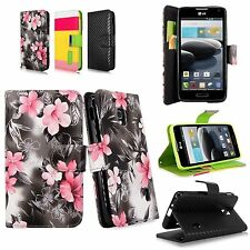For LG Optimus F6 D500 MS500 PU Leather Wallet Flip Open Pouch Case w/Strap New