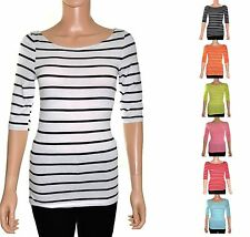 Basic Striped Boat Neck Elbow Sleeve Casual TEE SHIRT Top S, M, L