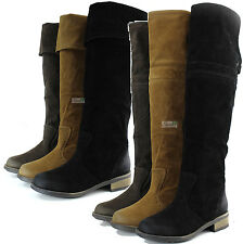 Women Cowgirl Low Flat Stacked  Round Toe Riding Slouch Knee High Cowboy Boots