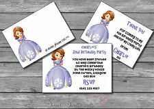 Sofia The First Personalised Glossy Invite /Thank You Card / Note 12 & envelopes