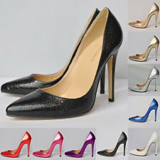 New Womens Crocodile Pattern High Heel Stilettos Platform Pumps Shoes Size UK2-9