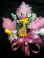 Baby shower MOMMY giraffe corsage boy or girl aqua pink or blue jungle theme