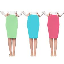 Womens Solid Lady Elastic Summer Pastel Pencil Skirt Style NEW!