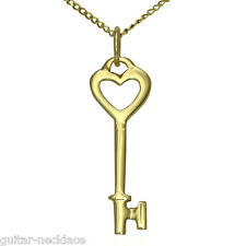 Solid 9ct Gold Heart Key Pendant Charm & Necklace Chain Jewellery set & Gift Box