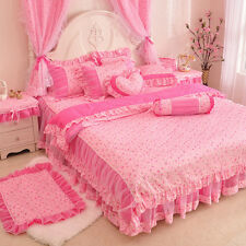 2014 New Arrival Pink Little Rose Girls Lace Tulle Ruffle Bedding
