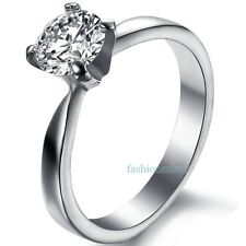 Stainless Steel Cubic Zirconia Women's Solitaire Ring Wedding Engagement Band