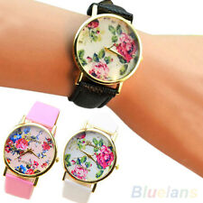 Womens New Faux Leather Rose Flower Watch Quartz Girls Cute Wristwatches BHCU