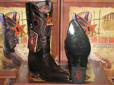 LOS ALTOS BLACK CHERRY GENUINE LIZARD RING WESTERN COWBOY BOOT (EE+) 990618