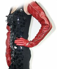 "70cm(27.5"") long mid zipper style opera  real leather opera gloves*red"