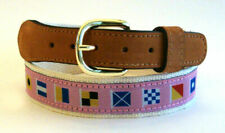 ZEP-PRO Embroidered Leather Canvas Ribbon Nautical CODE FLAGS Belt PINK pic size