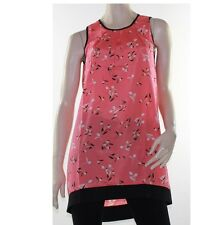 LUSHOUS Dress Tunic Floral Sleeveless Sweet Size 8 - 14 Black Coral Pink Shift