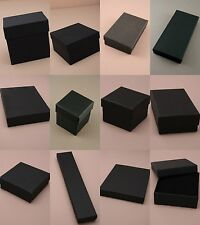 PACK OF 12 BLACK CARDBOARD GIFT / JEWELLERY BOXES WITH FLOCK PAD INSERT