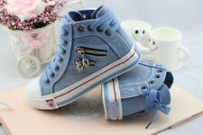Women Flat Platform High Upper Skull Zipper Lace Up Jeans Fabric Canvas Sneakers